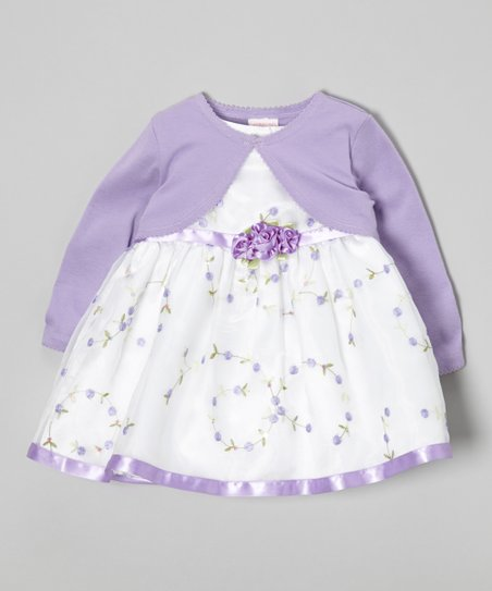 Lilac & White Rosette Dress & Bolero - Toddler & Girls