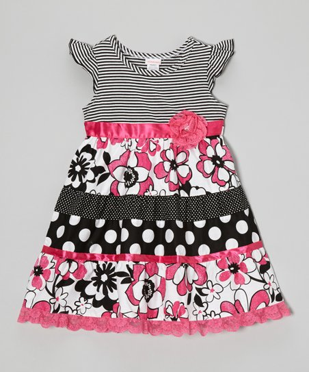 Black & Pink Polka Dot Floral Dress - Toddler & Girls