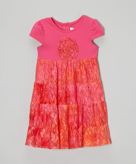 Pink & Orange Tie-Dye Lace Ruffle Dress - Toddler & Girls