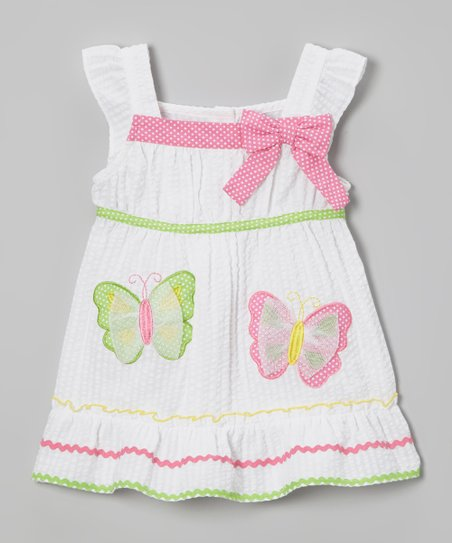 White & Green Butterfly Dress & Diaper Cover - Infant