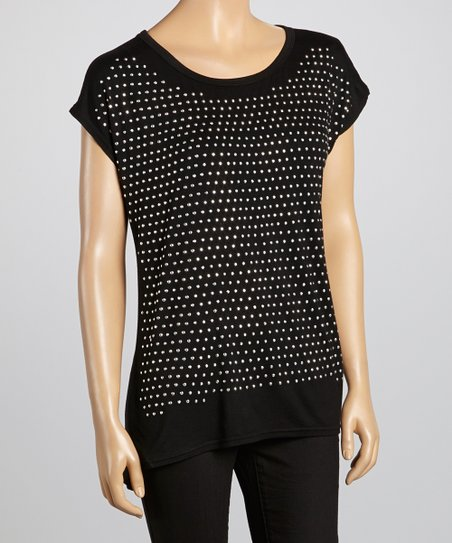 Black Shimmer Dot Top
