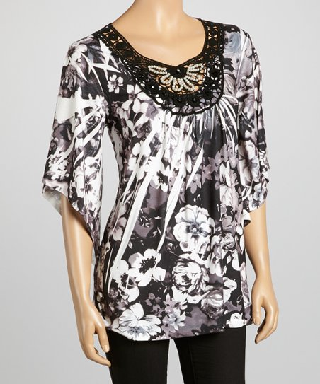 Black & Brown Crochet Sublimation Top