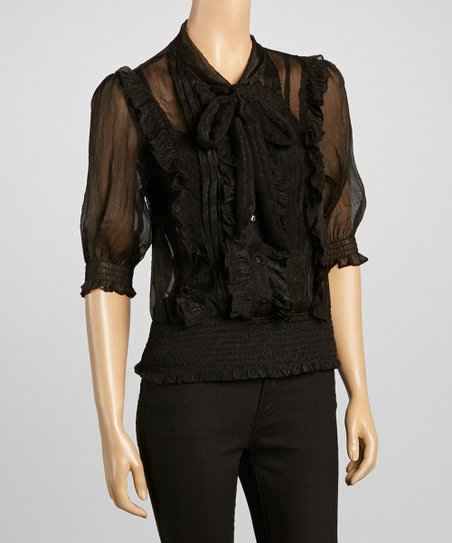 Black Sheer Ruffle Button-Up