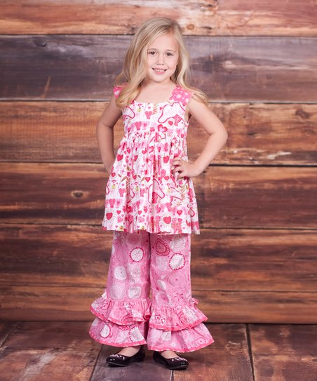 Pink Pugs & Kisses Lily Tunic & Pants – Infant, Toddler & Girls