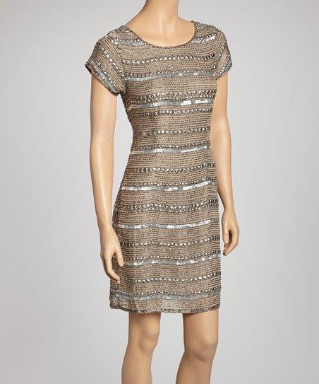 Taupe Sequin Stripe Shift Dress