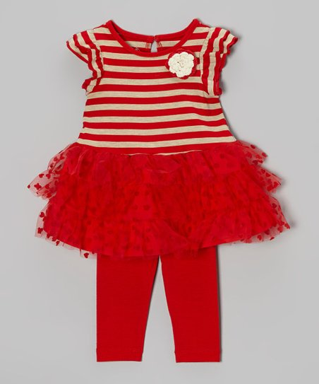 Red Stripe Tiered Ruffle Tunic & Leggings - Infant