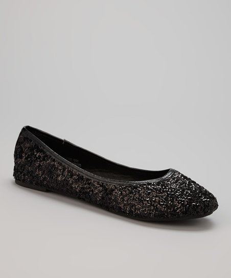 Black Scattered Sequin Flat