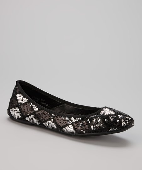 Black Harlequin Sequin Flat