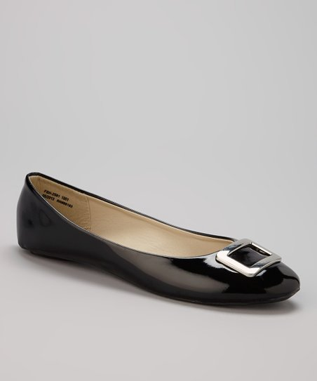 Black Patent Buckle Flat