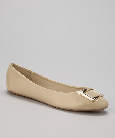 Tan Patent Buckle Flat