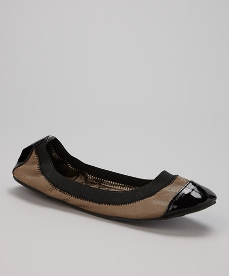 Taupe & Black Quilted Flat