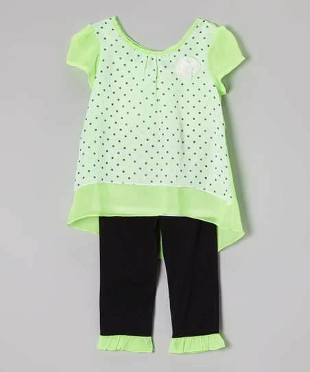 Lime Polka Dot Tunic & Black Capri Leggings - Girls
