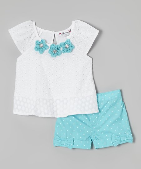 White Floral Top & Blue Polka Dot Shorts - Girls