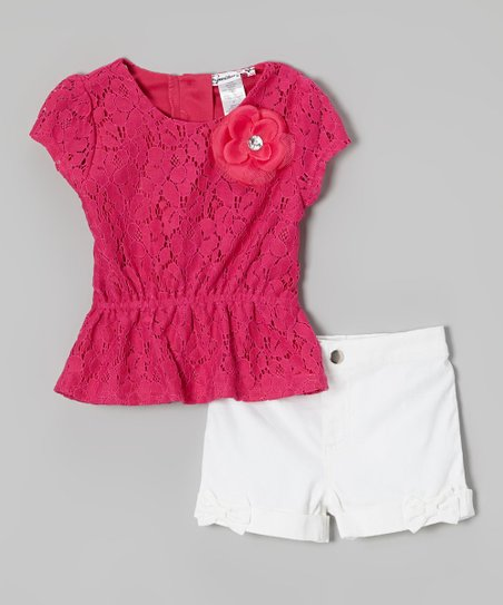 Red Lace Peplum Top & White Shorts - Toddler & Girls