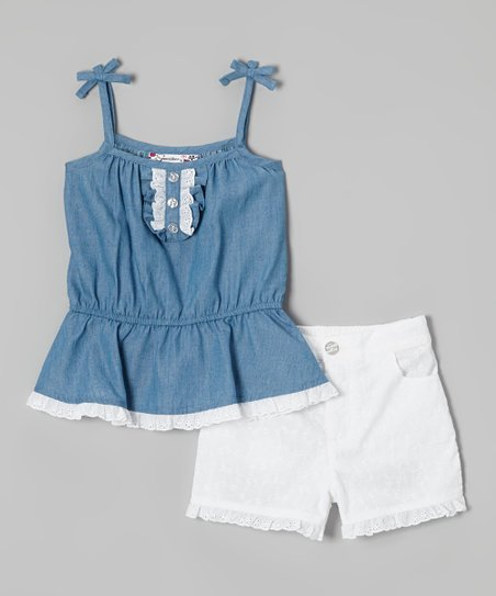 Blue Peplum Camisole & White Shorts - Toddler & Girls