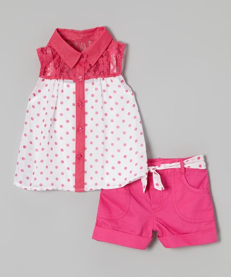 Red Polka Dot Button-Up & Shorts - Girls