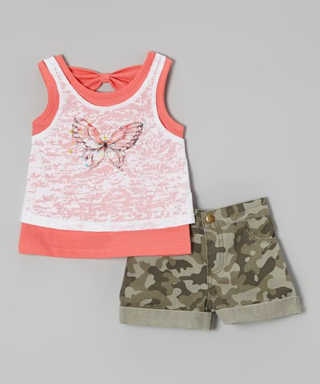 Orange Butterfly Tank & Green Camo Shorts - Girls