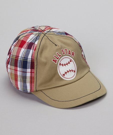 Khaki & Red Plaid 'All Star' Baseball Cap