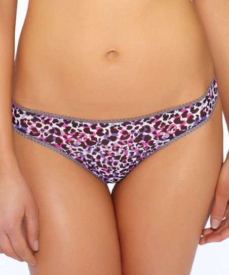 Purple Leopard Sheer Mesh Thong
