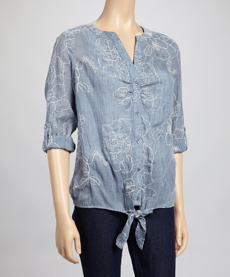 Chambray Floral Tie-Front Button-Up Top