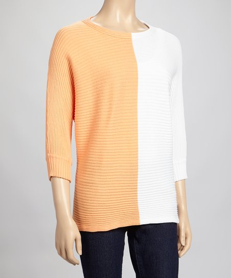 White & Apricot Color Block Dolman Top