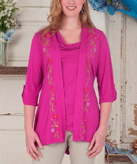 Indian Pink Floral Addison Open Cardigan - Plus