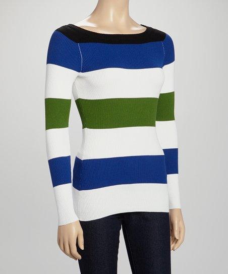 Black & Waterloo Blue Stripe Boatneck Sweater - Women