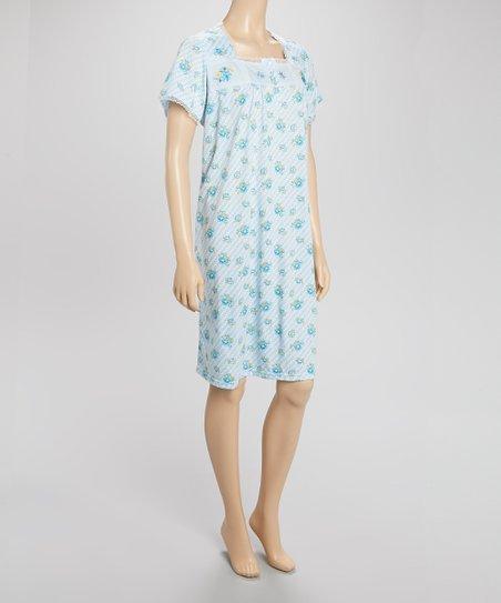 Blue Floral Nightgown - Women & Plus