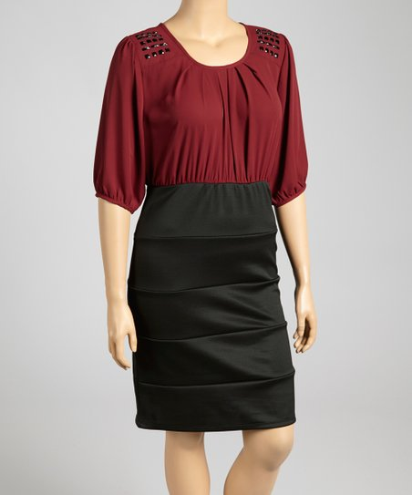 Maroon & Black Embellished Dress - Plus