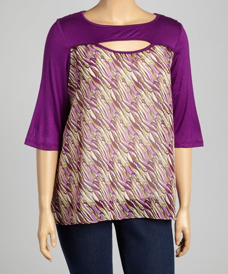 Purple Abstract Cutout Top - Plus