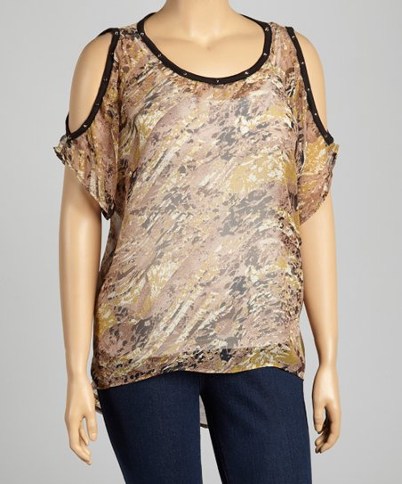 Brown Abstract Cutout Top - Plus