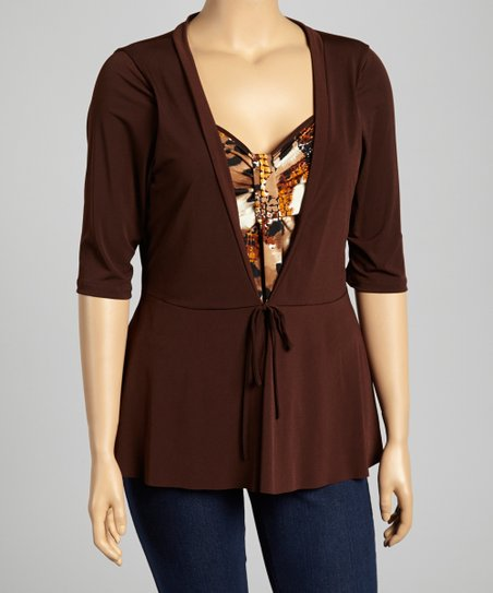 Brown Abstract Layered Top - Plus