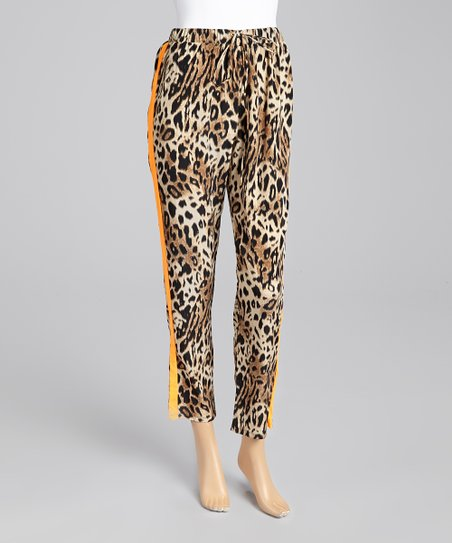 Coral Leopard Cropped Pants