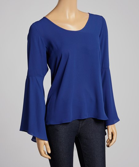 Navy Bell-Sleeve Top