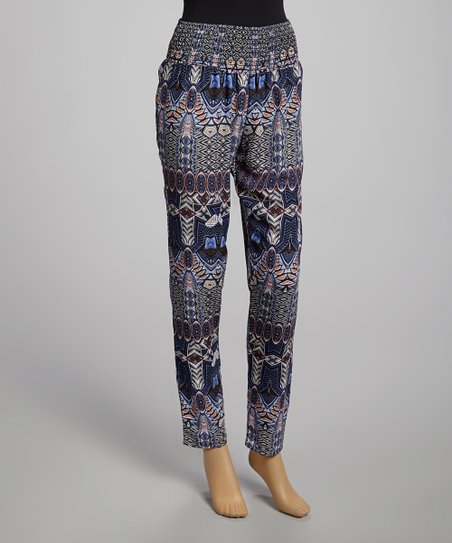 Blue & Plum Smocked Tribal Pants