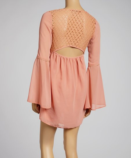 Peach Bell-Sleeve Shift Dress