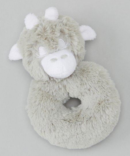 Silver Giraffe Plush Rattle