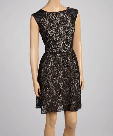 Black & Gold Lace Dress