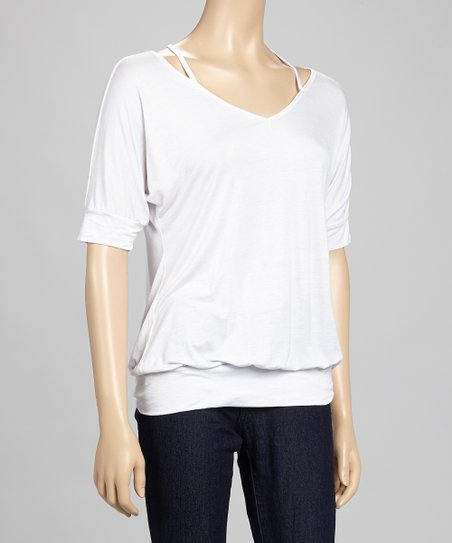 White Layered Racerback Dolman Top