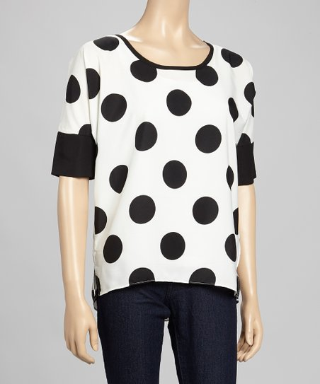 White Polka Dot Hi-Low Dolman Top