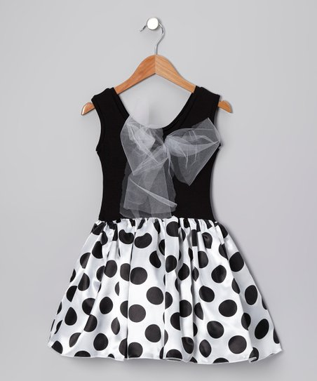 Black & White Lindsey Dress - Girls