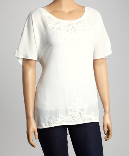Ivory Lace-Trim Cape-Sleeve Top - Plus