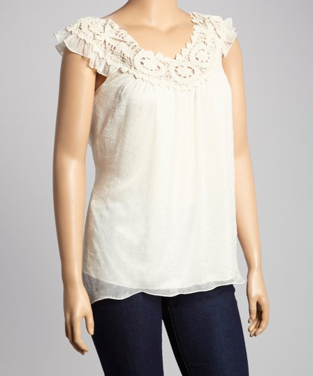 Ivory Lace Yoke Top - Plus