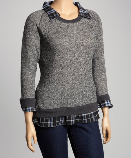 Charcoal & Blue Plaid Layered Sweater - Plus
