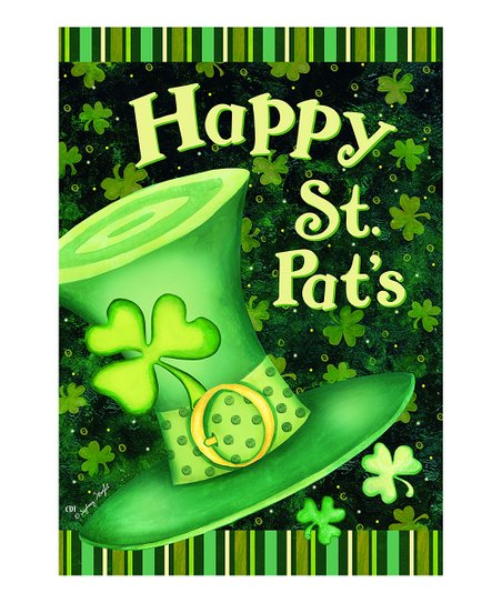 Green 'Happy St. Pat's' Hat House Flag