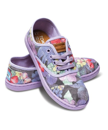 Lilac Faded Tropical Canvas Cordones - Youth