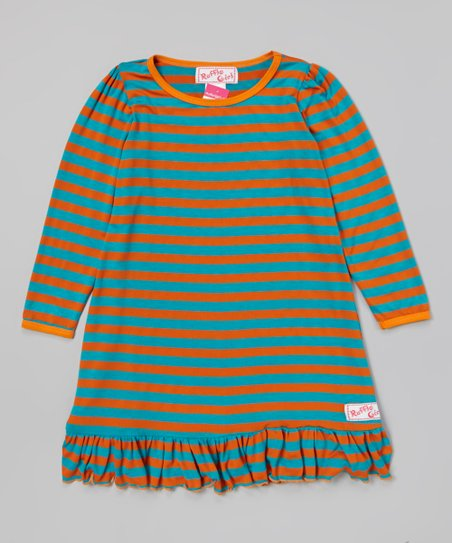 Orange & Teal Stripe Ruffle Dress - Toddler & Girls