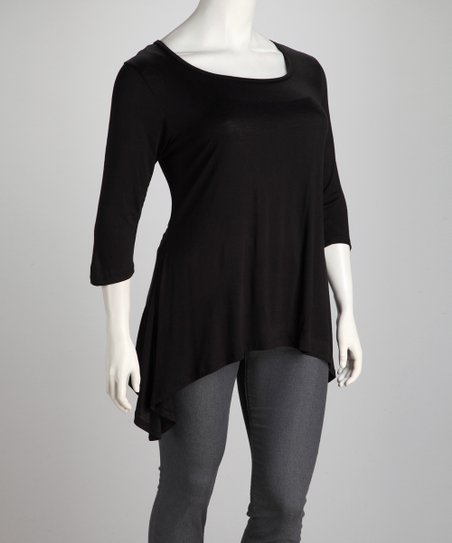 Black Plus-Size Sidetail Tunic