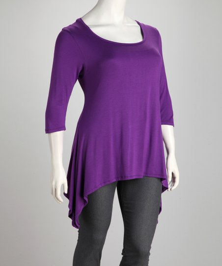 Purple Plus-Size Sidetail Tunic