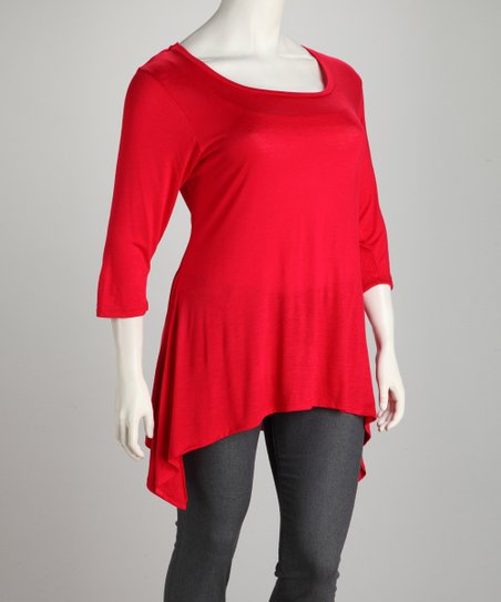 Red Plus-Size Sidetail Tunic